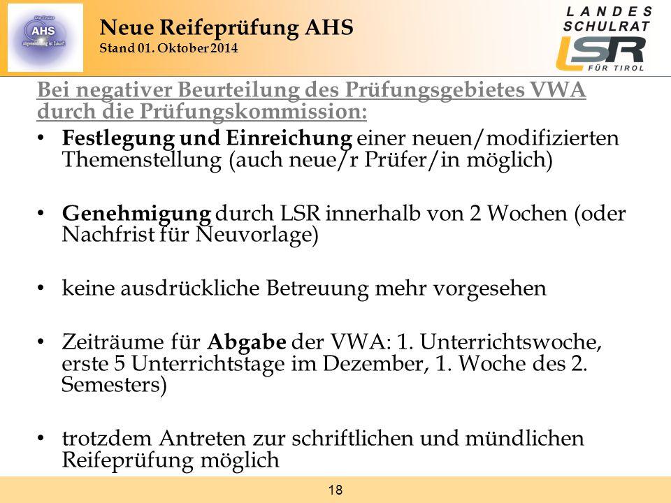 18 Bei negativer Beurteilung des Prüfungsgebietes VWA durch die Prüfungskommission: Festlegung und Einreichung einer neuen/modifizierten Themenstellun