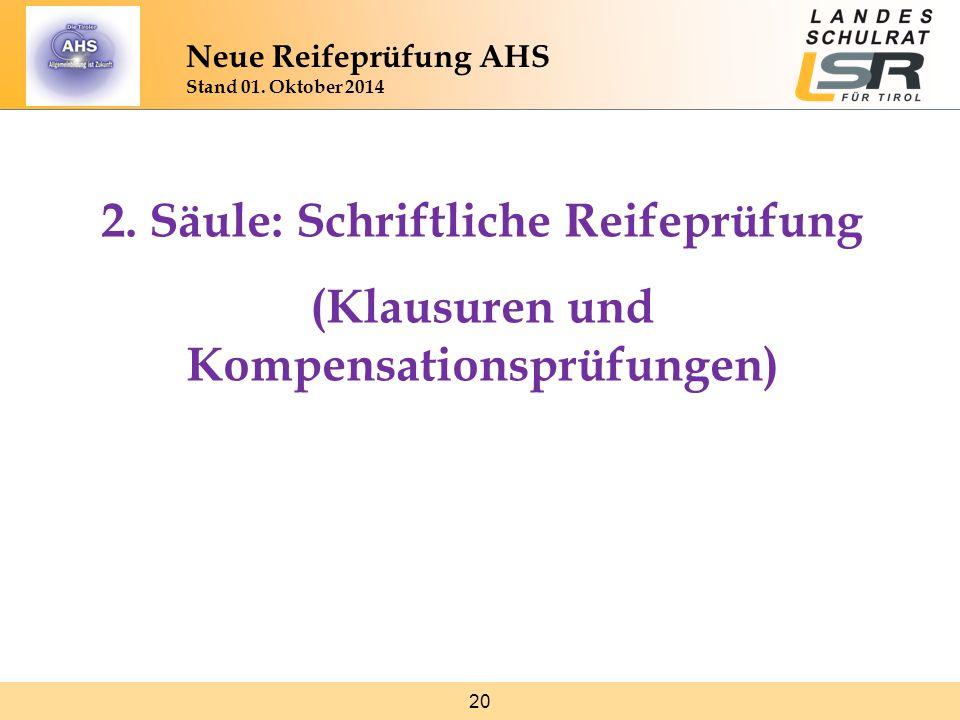 20 Neue Reifeprüfung AHS Stand 01. Oktober 2014 2. Säule: Schriftliche Reifeprüfung (Klausuren und Kompensationsprüfungen)