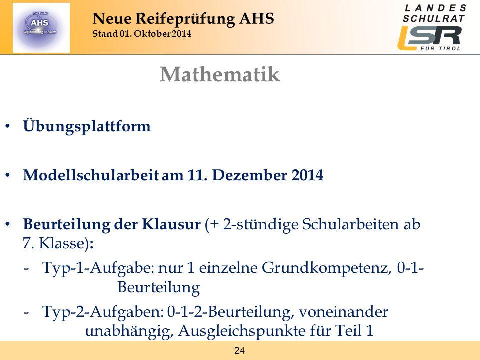 24 Neue Reifeprüfung AHS Stand 01. Oktober 2014 Mathematik Übungsplattform Modellschularbeit am 11. Dezember 2014 Beurteilung der Klausur (+ 2-stündig