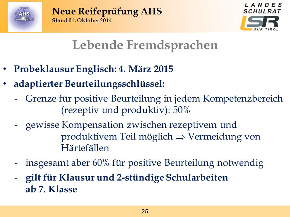 25 Neue Reifeprüfung AHS Stand 01. Oktober 2014 Lebende Fremdsprachen Probeklausur Englisch: 4. März 2015 adaptierter Beurteilungsschlüssel: -Grenze f