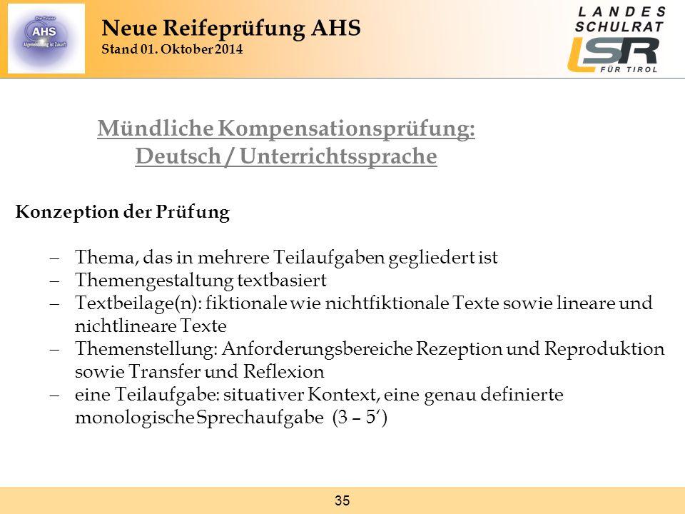 35 Konzeption der Prüfung  Thema, das in mehrere Teilaufgaben gegliedert ist  Themengestaltung textbasiert  Textbeilage(n): fiktionale wie nichtfik