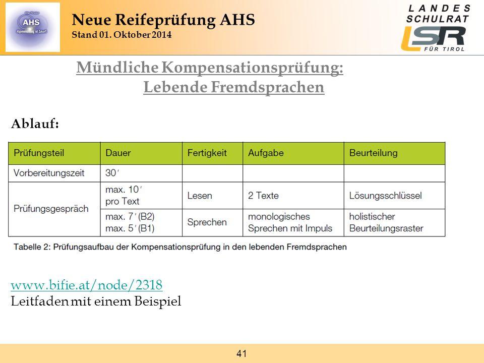 41 Mündliche Kompensationsprüfung: Lebende Fremdsprachen Ablauf: www.bifie.at/node/2318 www.bifie.at/node/2318 Leitfaden mit einem Beispiel Neue Reife