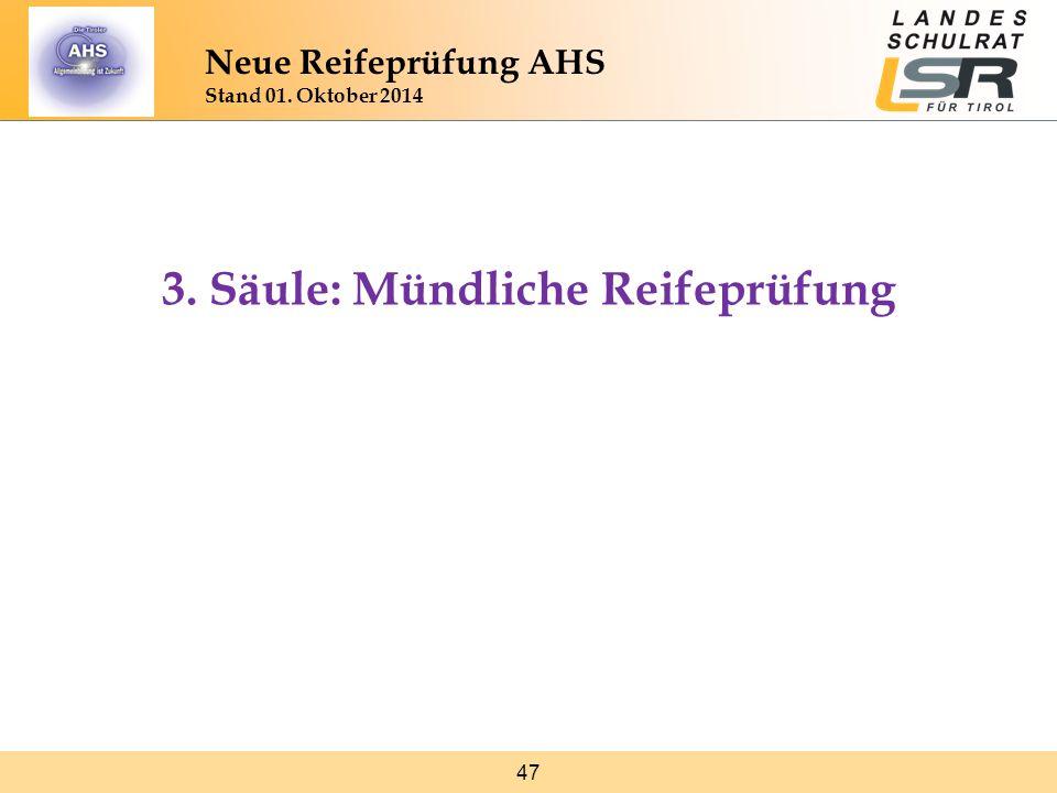47 Neue Reifeprüfung AHS Stand 01. Oktober 2014 3. Säule: Mündliche Reifeprüfung
