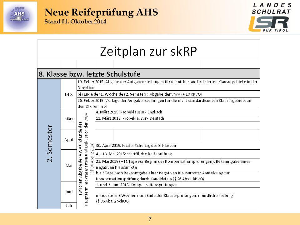 8 Neue Reifeprüfung AHS Stand 01. Oktober 2014 1. Säule: Vorwissenschaftliche Arbeit (VWA)