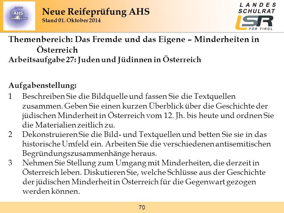 70 Themenbereich: Das Fremde und das Eigene – Minderheiten in Österreich Arbeitsaufgabe 27: Juden und Jüdinnen in Österreich Aufgabenstellung: 1Beschr