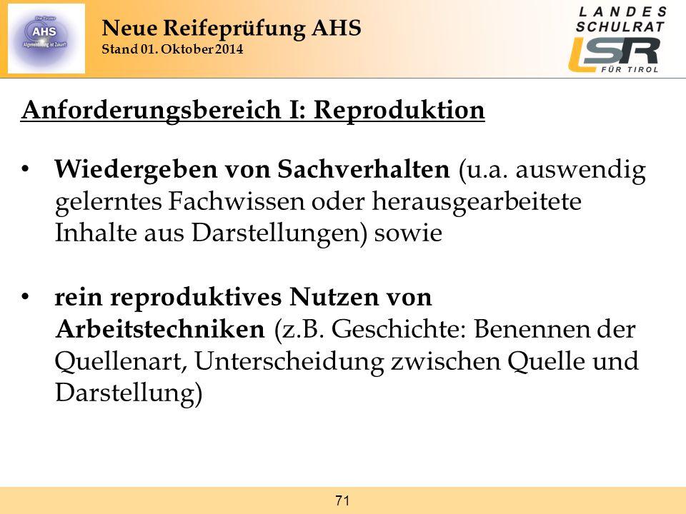 71 Anforderungsbereich I: Reproduktion Wiedergeben von Sachverhalten (u.a. auswendig gelerntes Fachwissen oder herausgearbeitete Inhalte aus Darstellu