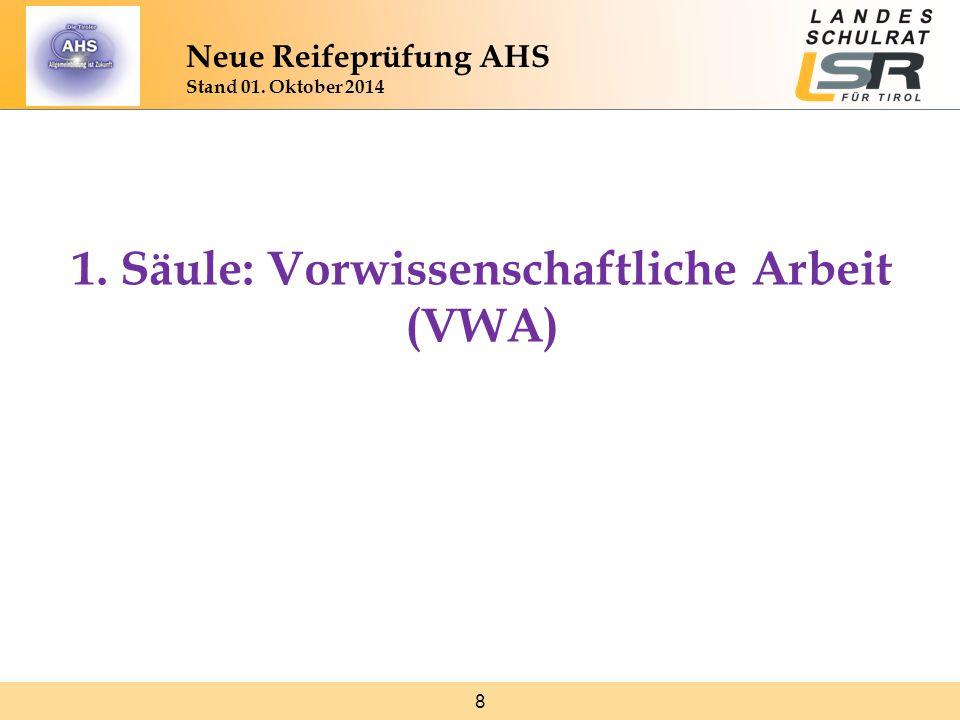 29 Mündliche Kompensationsprüfung www.bifie.at/node/2313 Generelle Informationen zum Ablauf der Kompensationsprüfungen www.bifie.at/node/2313 www.bifie.at/node/2314 Relevante Auszüge aus Gesetzen und Verordnungen www.bifie.at/node/2314 www.bifie.at/node/74 Downloads zu den Leitfäden der einzelnen Fächer www.bifie.at/node/74 Neue Reifeprüfung AHS Stand 01.