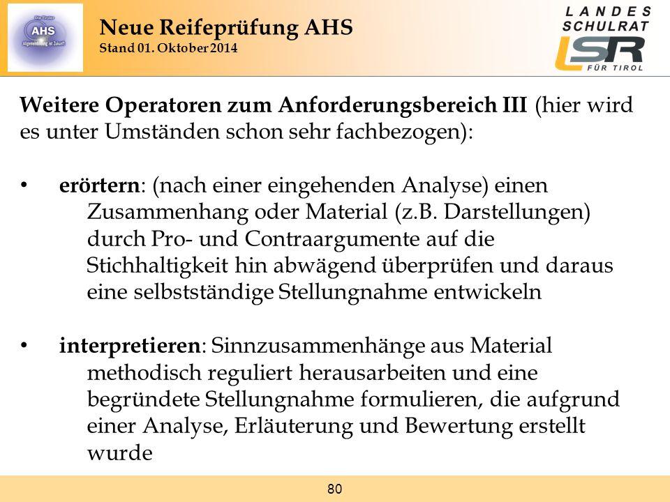 80 Weitere Operatoren zum Anforderungsbereich III (hier wird es unter Umständen schon sehr fachbezogen): erörtern : (nach einer eingehenden Analyse) e