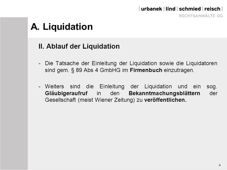 A. Liquidation II. Ablauf der Liquidation -Die Tatsache der Einleitung der Liquidation sowie die Liquidatoren sind gem. § 89 Abs 4 GmbHG im Firmenbuch