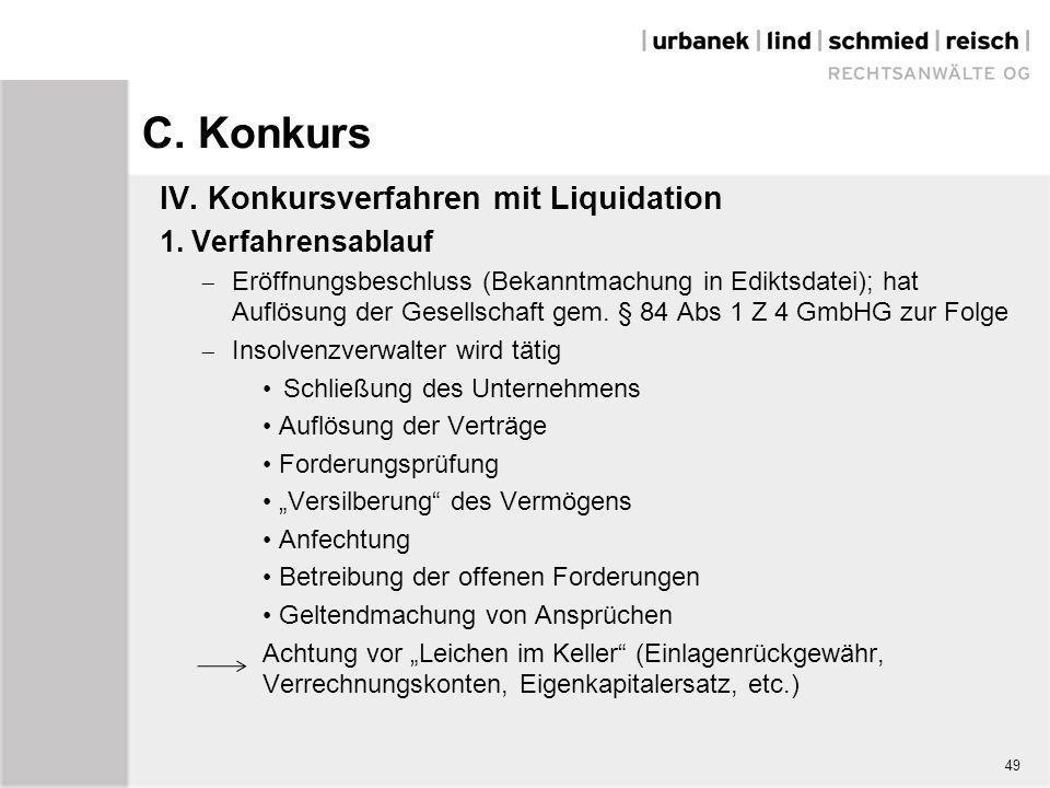 C. Konkurs IV. Konkursverfahren mit Liquidation 1. Verfahrensablauf  Eröffnungsbeschluss (Bekanntmachung in Ediktsdatei); hat Auflösung der Gesellsch