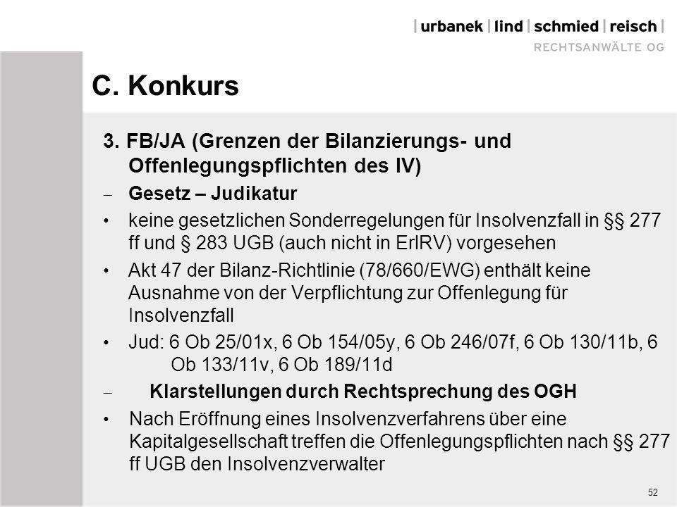 C. Konkurs 3. FB/JA (Grenzen der Bilanzierungs- und Offenlegungspflichten des IV)  Gesetz – Judikatur keine gesetzlichen Sonderregelungen für Insolve