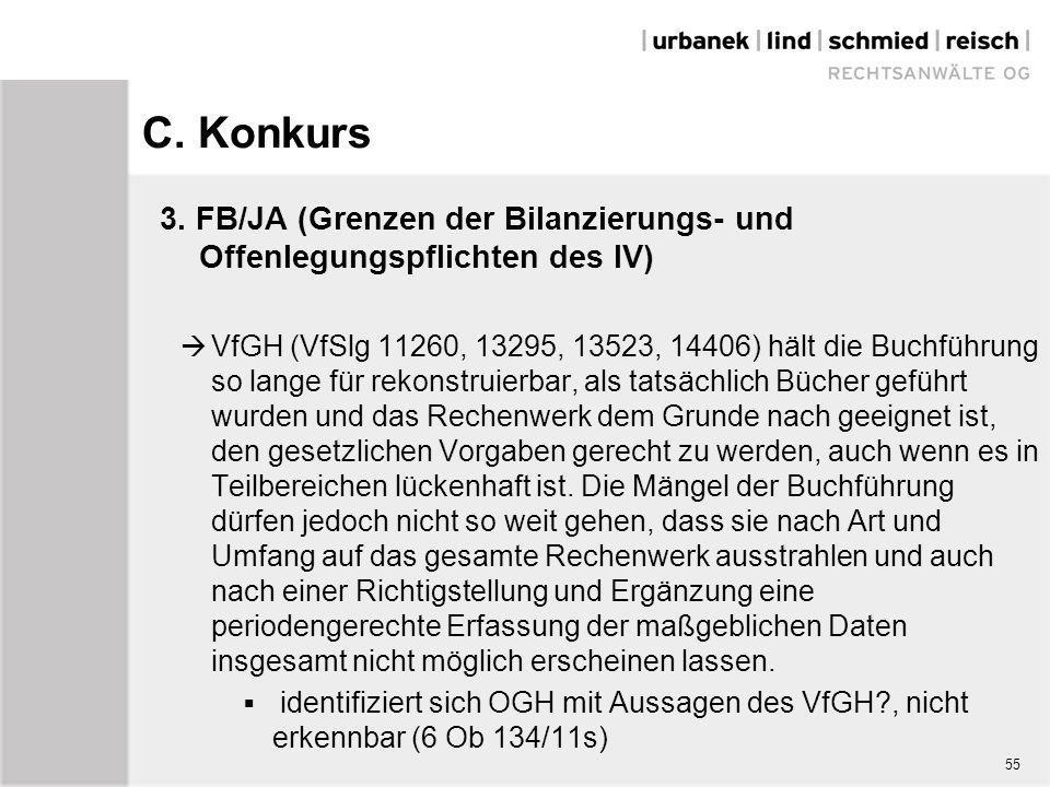 C. Konkurs 3. FB/JA (Grenzen der Bilanzierungs- und Offenlegungspflichten des IV)  VfGH (VfSlg 11260, 13295, 13523, 14406) hält die Buchführung so la
