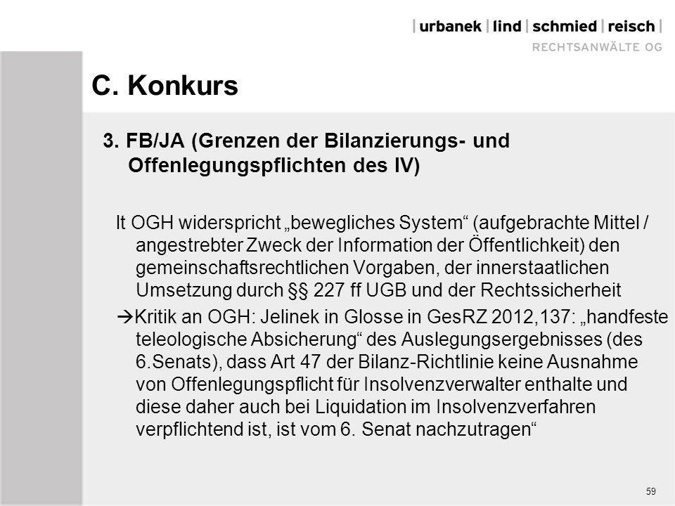 """C. Konkurs 3. FB/JA (Grenzen der Bilanzierungs- und Offenlegungspflichten des IV) lt OGH widerspricht """"bewegliches System"""" (aufgebrachte Mittel / ange"""