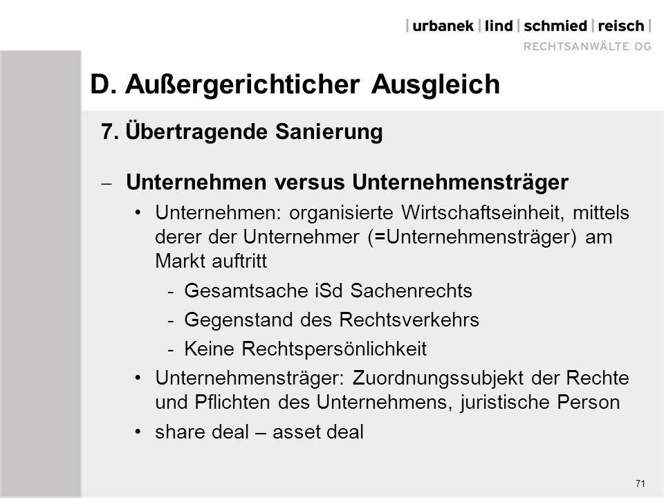 D. Außergerichticher Ausgleich 7. Übertragende Sanierung  Unternehmen versus Unternehmensträger Unternehmen: organisierte Wirtschaftseinheit, mittels