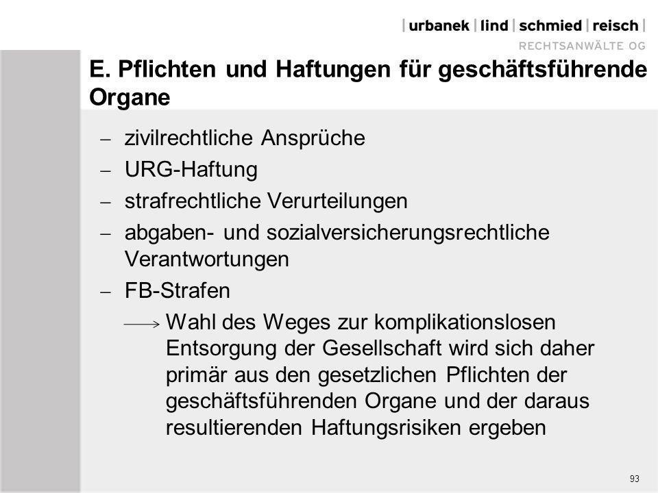E. Pflichten und Haftungen für geschäftsführende Organe  zivilrechtliche Ansprüche  URG-Haftung  strafrechtliche Verurteilungen  abgaben- und sozi