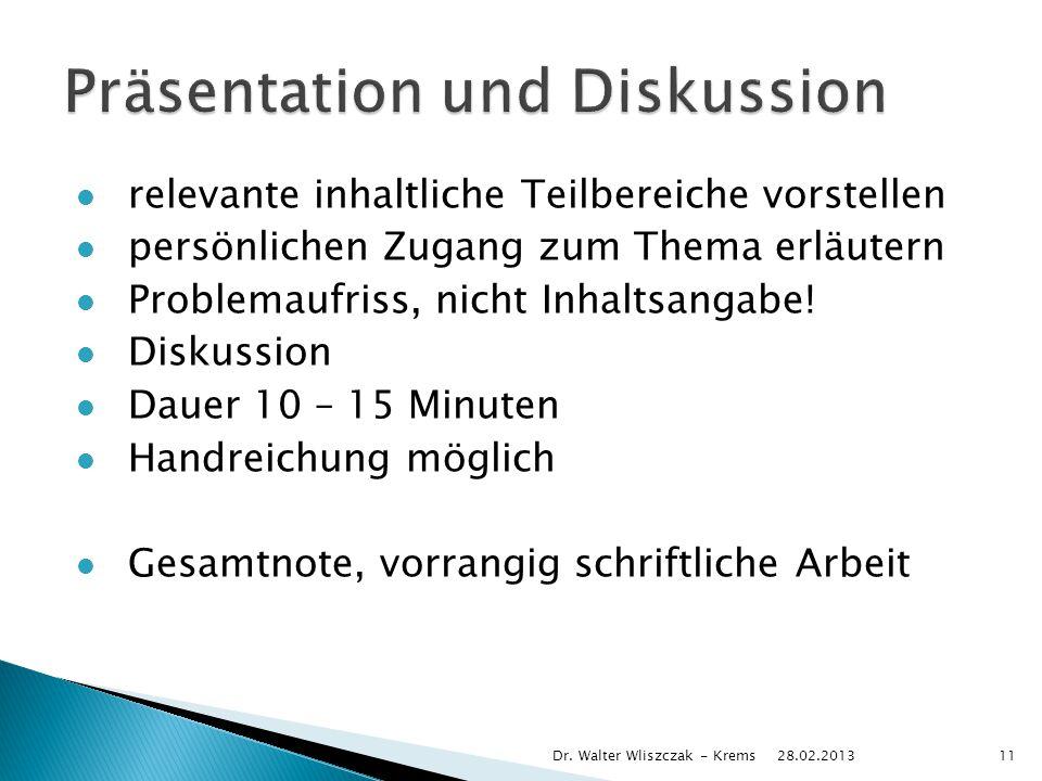 relevante inhaltliche Teilbereiche vorstellen persönlichen Zugang zum Thema erläutern Problemaufriss, nicht Inhaltsangabe! Diskussion Dauer 10 – 15 Mi