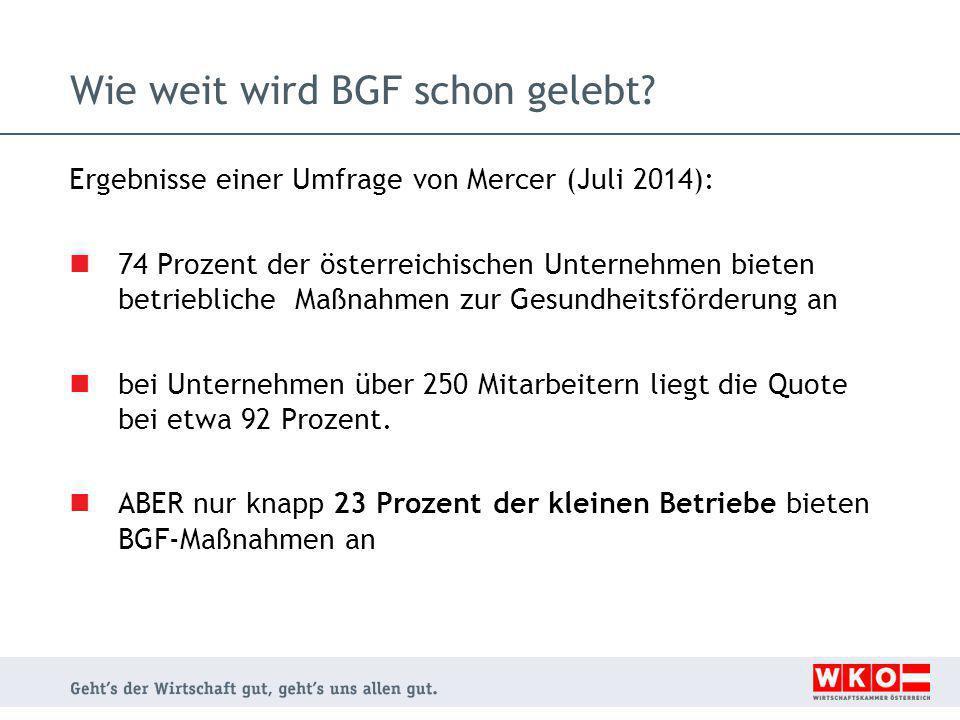 Wie weit wird BGF schon gelebt? Ergebnisse einer Umfrage von Mercer (Juli 2014): 74 Prozent der österreichischen Unternehmen bieten betriebliche Maßna