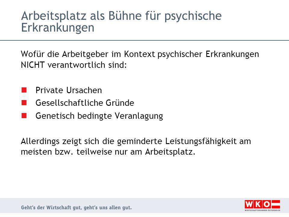 Arbeitsplatz als Bühne für psychische Erkrankungen Wofür die Arbeitgeber im Kontext psychischer Erkrankungen NICHT verantwortlich sind: Private Ursach