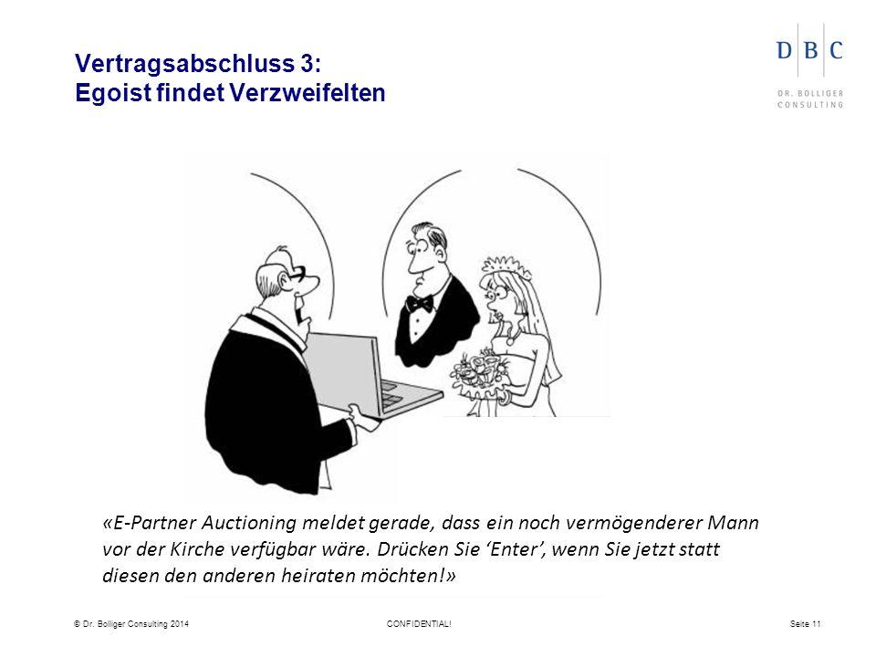 © Dr. Bolliger Consulting 2014CONFIDENTIAL!Seite 11 Vertragsabschluss 3: Egoist findet Verzweifelten «E-Partner Auctioning meldet gerade, dass ein noc