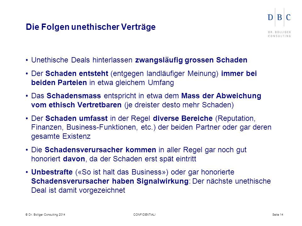 © Dr. Bolliger Consulting 2014CONFIDENTIAL!Seite 14 Die Folgen unethischer Verträge Unethische Deals hinterlassen zwangsläufig grossen Schaden Der Sch