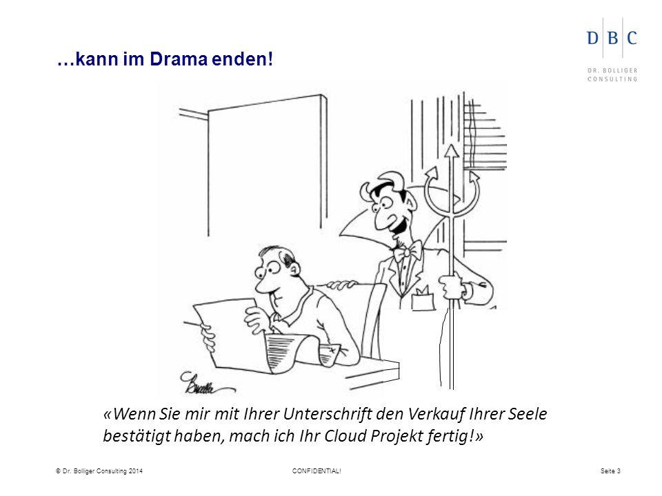 © Dr. Bolliger Consulting 2014CONFIDENTIAL!Seite 3 …kann im Drama enden.