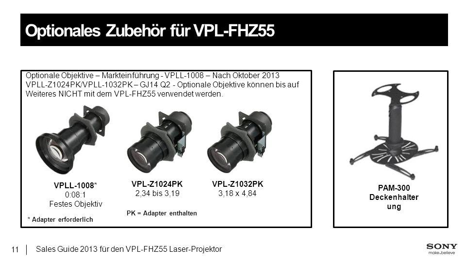 Sales Guide 2013 für den VPL-FHZ55 Laser-Projektor 11 Optionales Zubehör für VPL-FHZ55 VPL-Z1024PK 2,34 bis 3,19 VPLL-1008* 0:08:1 Festes Objektiv VPL