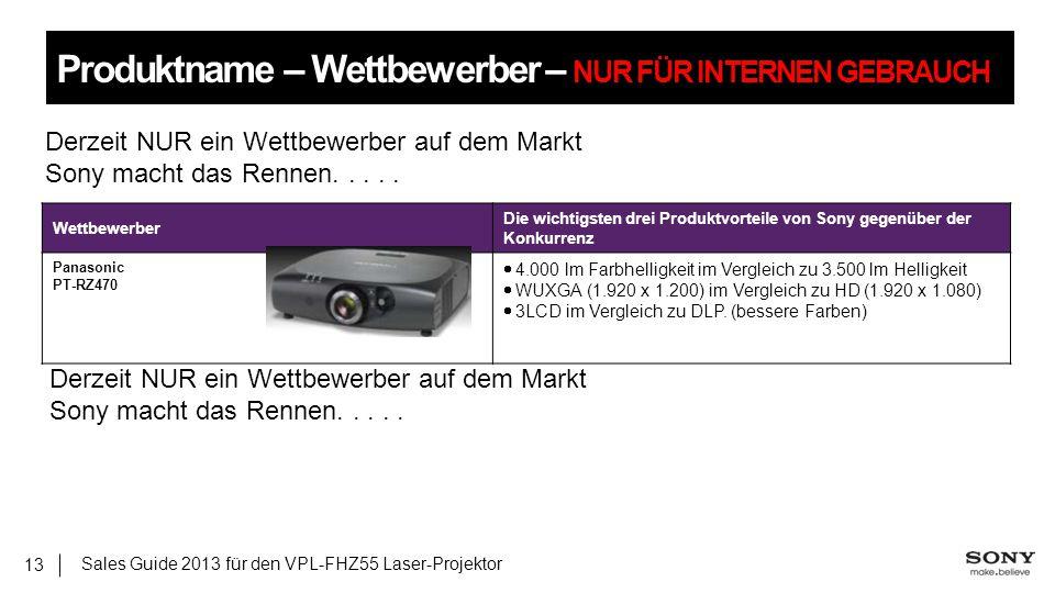 Sales Guide 2013 für den VPL-FHZ55 Laser-Projektor 13 Produktname – Wettbewerber – NUR FÜR INTERNEN GEBRAUCH Wettbewerber Die wichtigsten drei Produkt