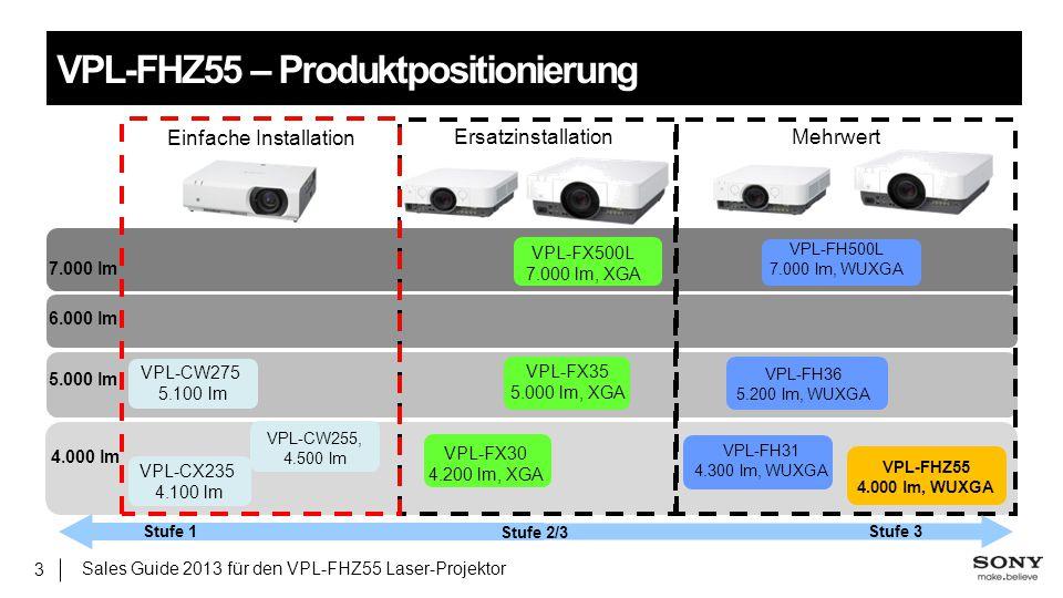 Sales Guide 2013 für den VPL-FHZ55 Laser-Projektor 3 VPL-FHZ55 – Produktpositionierung 5.000 lm 7.000 lm 6.000 lm Mehrwert VPL-FX500L 7.000 lm, XGA VP