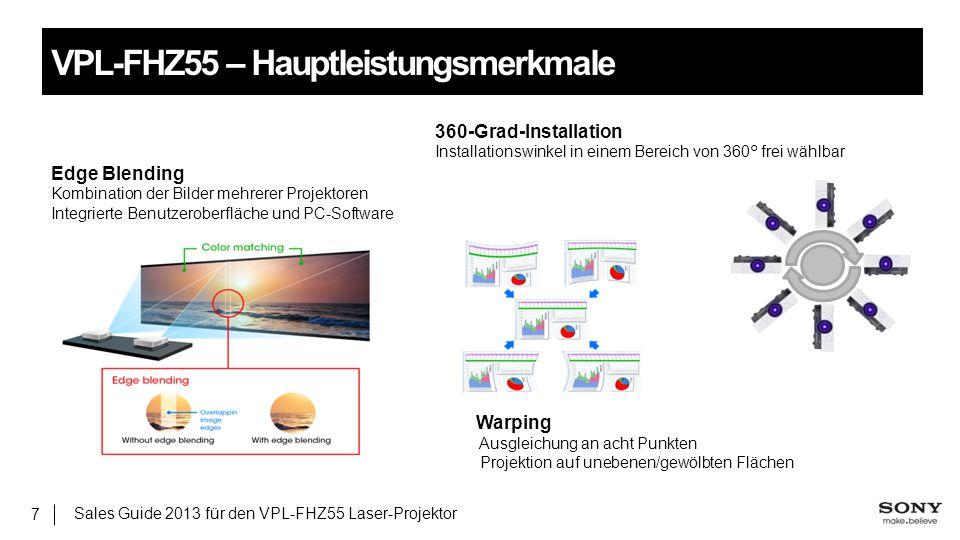 Sales Guide 2013 für den VPL-FHZ55 Laser-Projektor 7 VPL-FHZ55 – Hauptleistungsmerkmale 360-Grad-Installation Installationswinkel in einem Bereich von