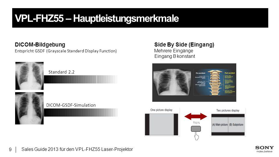 Sales Guide 2013 für den VPL-FHZ55 Laser-Projektor 9 VPL-FHZ55 – Hauptleistungsmerkmale DICOM-BildgebungSide By Side (Eingang) Entspricht GSDF (Graysc