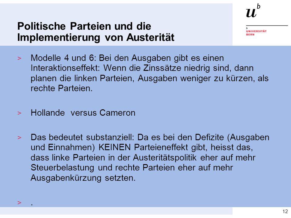 Politische Parteien und die Implementierung von Austerität > Modelle 4 und 6: Bei den Ausgaben gibt es einen Interaktionseffekt: Wenn die Zinssätze niedrig sind, dann planen die linken Parteien, Ausgaben weniger zu kürzen, als rechte Parteien.