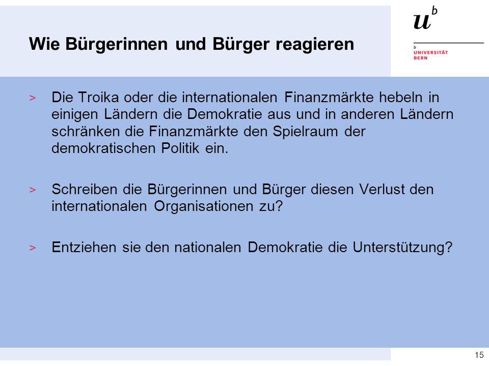 Wie Bürgerinnen und Bürger reagieren > Die Troika oder die internationalen Finanzmärkte hebeln in einigen Ländern die Demokratie aus und in anderen Lä