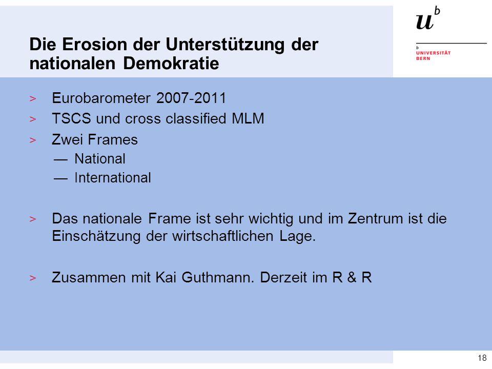 Die Erosion der Unterstützung der nationalen Demokratie > Eurobarometer 2007-2011 > TSCS und cross classified MLM > Zwei Frames —National —International > Das nationale Frame ist sehr wichtig und im Zentrum ist die Einschätzung der wirtschaftlichen Lage.