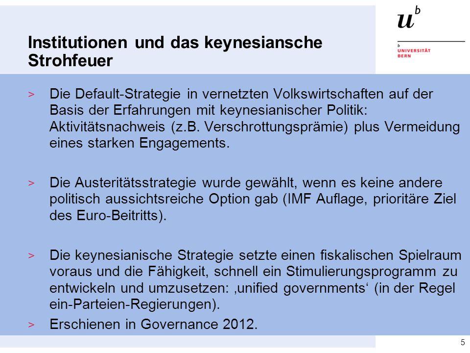 Institutionen und das keynesiansche Strohfeuer > Die Default-Strategie in vernetzten Volkswirtschaften auf der Basis der Erfahrungen mit keynesianisch