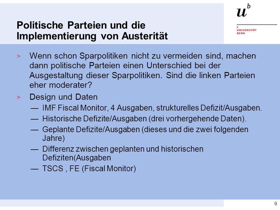 Politische Parteien und die Implementierung von Austerität > Wenn schon Sparpolitiken nicht zu vermeiden sind, machen dann politische Parteien einen U