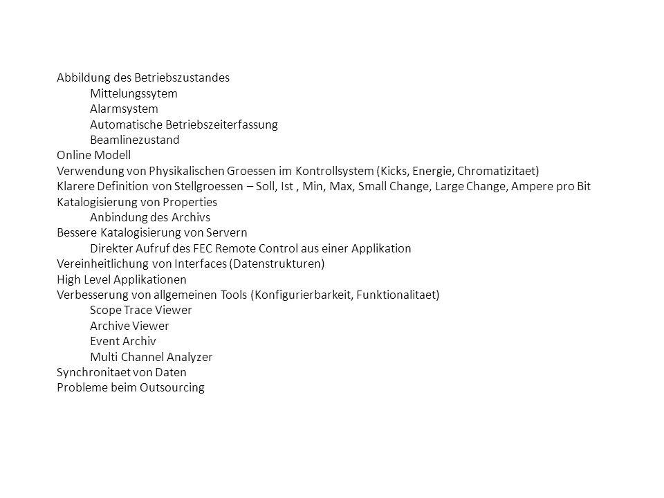 Abbildung des Betriebszustandes Mittelungssytem Alarmsystem Automatische Betriebszeiterfassung Beamlinezustand Online Modell Verwendung von Physikalischen Groessen im Kontrollsystem (Kicks, Energie, Chromatizitaet) Klarere Definition von Stellgroessen – Soll, Ist, Min, Max, Small Change, Large Change, Ampere pro Bit Katalogisierung von Properties Anbindung des Archivs Bessere Katalogisierung von Servern Direkter Aufruf des FEC Remote Control aus einer Applikation Vereinheitlichung von Interfaces (Datenstrukturen) High Level Applikationen Verbesserung von allgemeinen Tools (Konfigurierbarkeit, Funktionalitaet) Scope Trace Viewer Archive Viewer Event Archiv Multi Channel Analyzer Synchronitaet von Daten Probleme beim Outsourcing