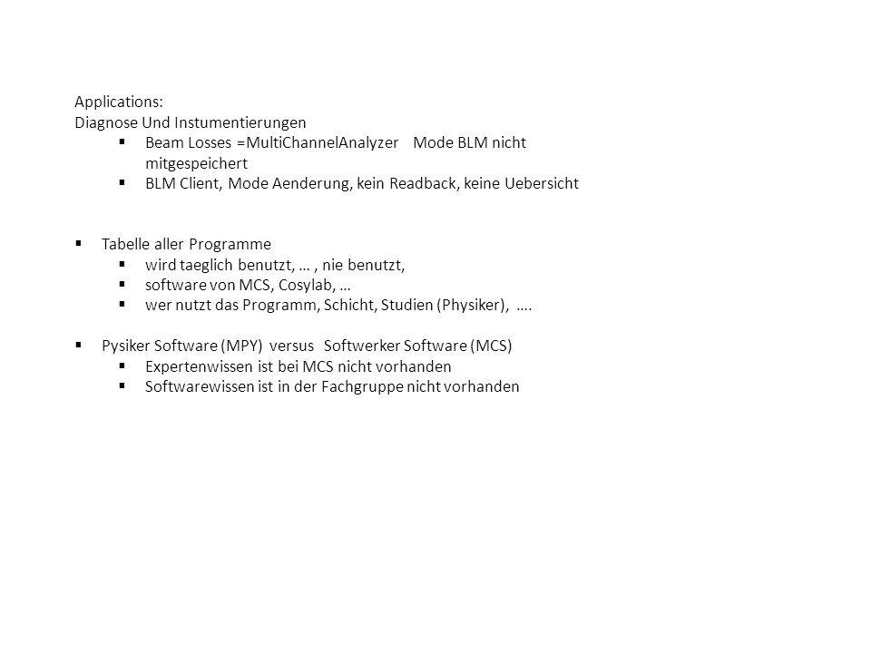 Applications: Diagnose Und Instumentierungen  Beam Losses =MultiChannelAnalyzer Mode BLM nicht mitgespeichert  BLM Client, Mode Aenderung, kein Readback, keine Uebersicht  Tabelle aller Programme  wird taeglich benutzt, …, nie benutzt,  software von MCS, Cosylab, …  wer nutzt das Programm, Schicht, Studien (Physiker), ….