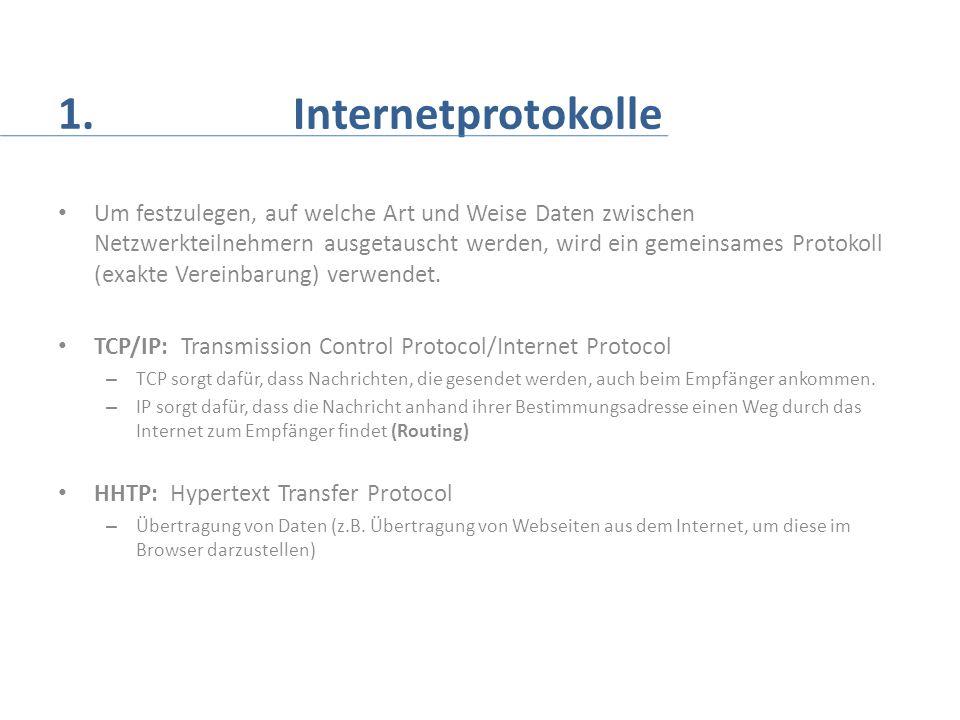 1. Internetprotokolle Um festzulegen, auf welche Art und Weise Daten zwischen Netzwerkteilnehmern ausgetauscht werden, wird ein gemeinsames Protokoll