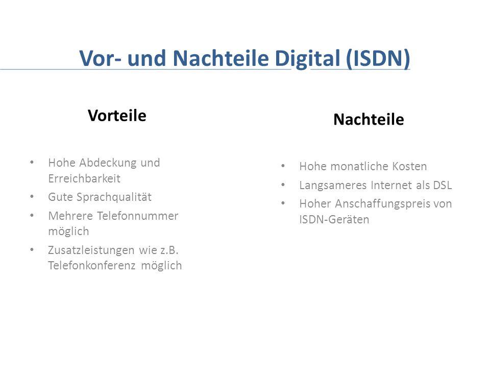 Vor- und Nachteile Digital (ISDN) Vorteile Hohe Abdeckung und Erreichbarkeit Gute Sprachqualität Mehrere Telefonnummer möglich Zusatzleistungen wie z.