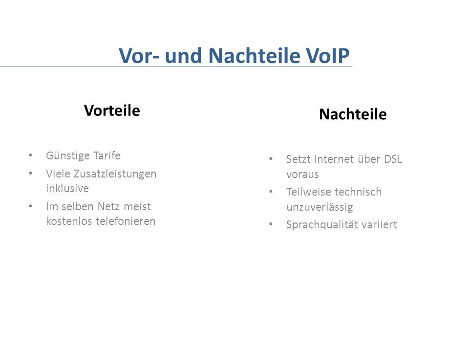 Vor- und Nachteile VoIP Vorteile Günstige Tarife Viele Zusatzleistungen inklusive Im selben Netz meist kostenlos telefonieren Nachteile Setzt Internet