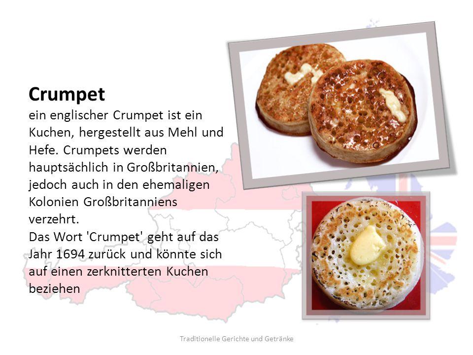 Crumpet ein englischer Crumpet ist ein Kuchen, hergestellt aus Mehl und Hefe. Crumpets werden hauptsächlich in Großbritannien, jedoch auch in den ehem