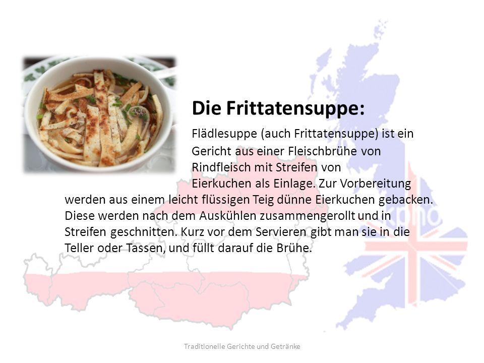 Die Frittatensuppe: Flädlesuppe (auch Frittatensuppe) ist ein Gericht aus einer Fleischbrühe von Rindfleisch mit Streifen von Eierkuchen als Einlage.