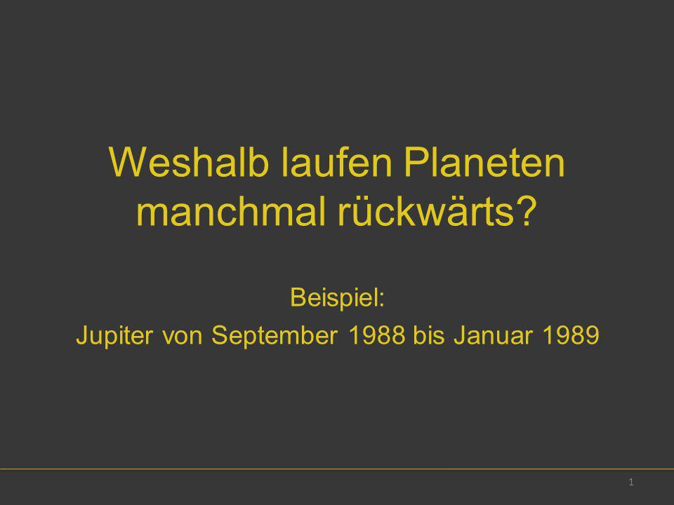 Weshalb laufen Planeten manchmal rückwärts? Beispiel: Jupiter von September 1988 bis Januar 1989 1