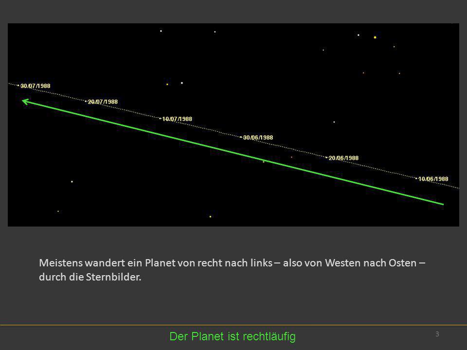 3 Meistens wandert ein Planet von recht nach links – also von Westen nach Osten – durch die Sternbilder. Der Planet ist rechtläufig