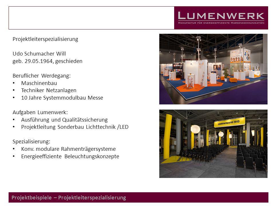 Projektbeispiele – Projektleiterspezialisierung Projektleiterspezialisierung Udo Schumacher Will geb.