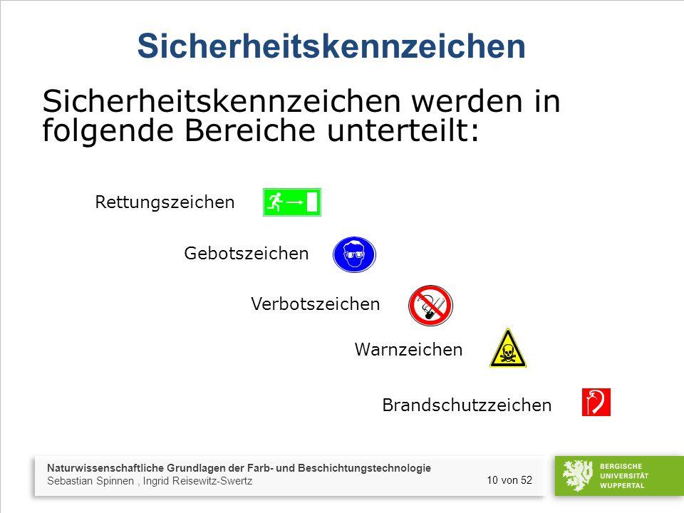 Naturwissenschaftliche Grundlagen der Farb- und Beschichtungstechnologie Sebastian Spinnen, Ingrid Reisewitz-Swertz 10 von 52 Sicherheitskennzeichen S