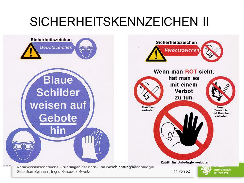 Naturwissenschaftliche Grundlagen der Farb- und Beschichtungstechnologie Sebastian Spinnen, Ingrid Reisewitz-Swertz 11 von 52 SICHERHEITSKENNZEICHEN I