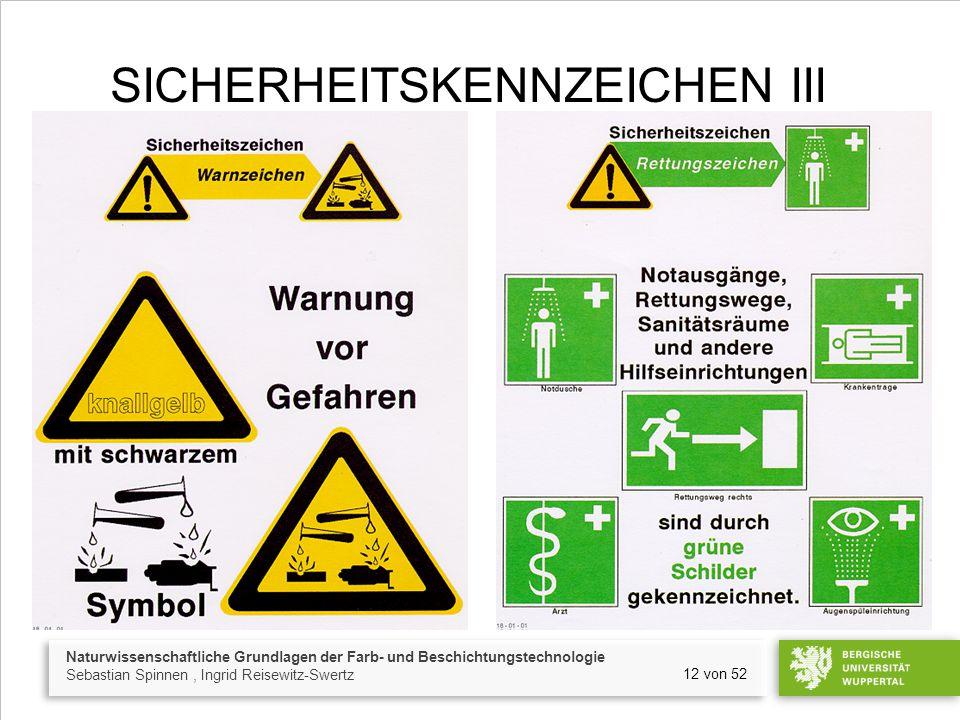 Naturwissenschaftliche Grundlagen der Farb- und Beschichtungstechnologie Sebastian Spinnen, Ingrid Reisewitz-Swertz 12 von 52 SICHERHEITSKENNZEICHEN I