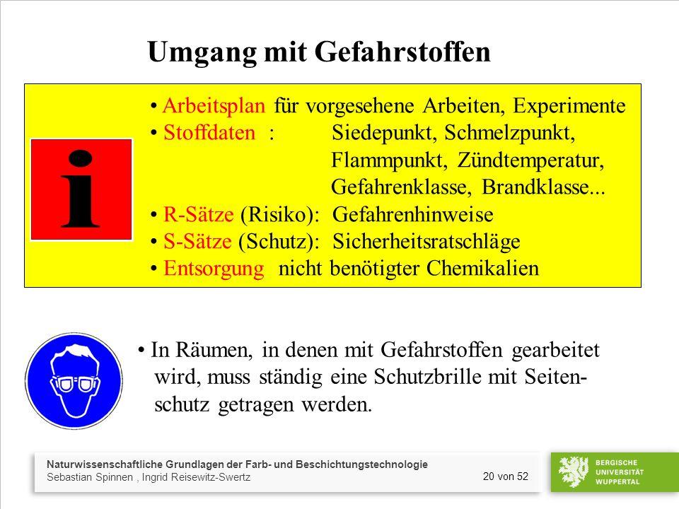 Naturwissenschaftliche Grundlagen der Farb- und Beschichtungstechnologie Sebastian Spinnen, Ingrid Reisewitz-Swertz 20 von 52 Umgang mit Gefahrstoffen