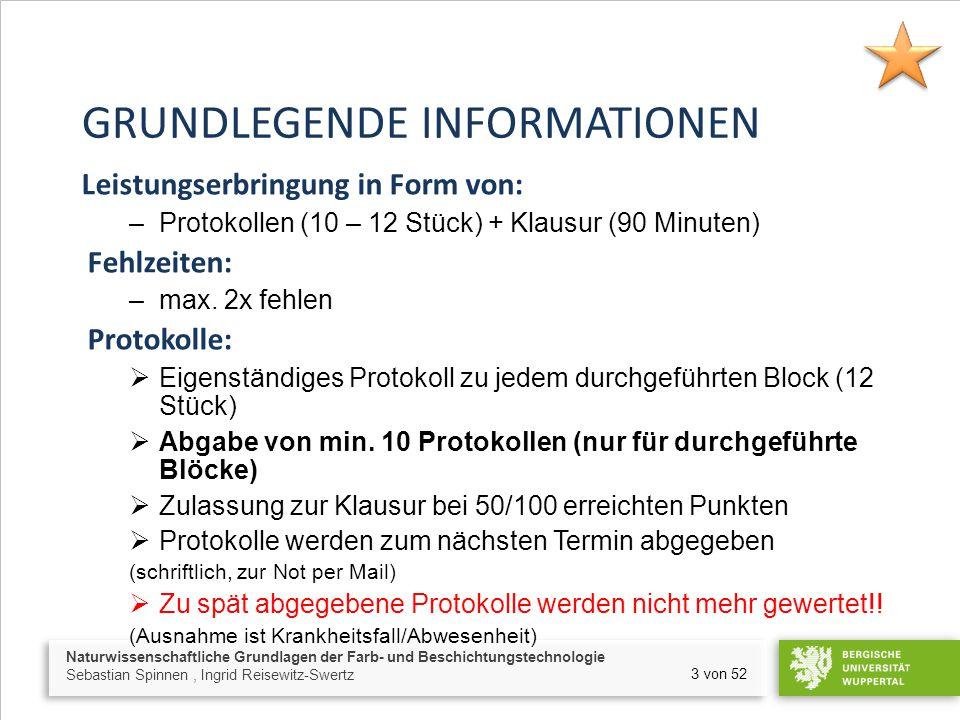 Naturwissenschaftliche Grundlagen der Farb- und Beschichtungstechnologie Sebastian Spinnen, Ingrid Reisewitz-Swertz 14 von 52 1.